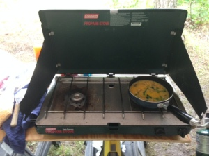 Scrambled eggs on the Coleman